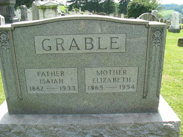 Isaiah and Elizabeth Grable tombstone
