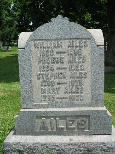 William, Phoebe, Stephen, Mary Ailes tombstone