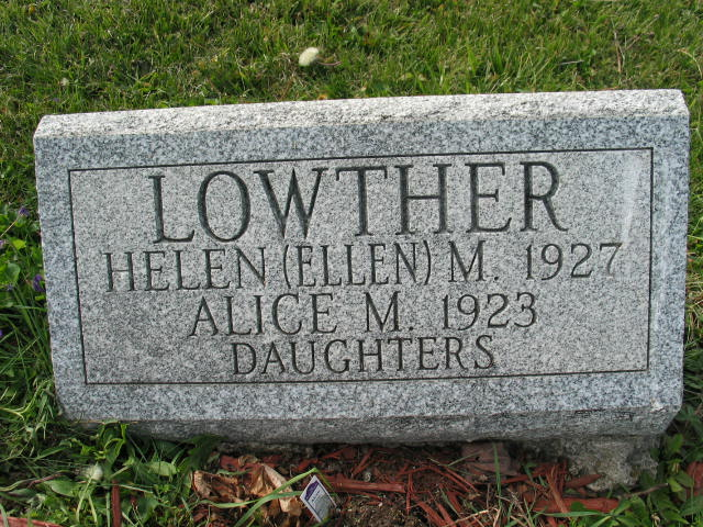 Helen and Alice Lowther tombstone