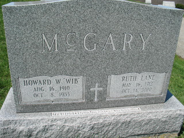 Howard and ruth Lane McGary tombstone