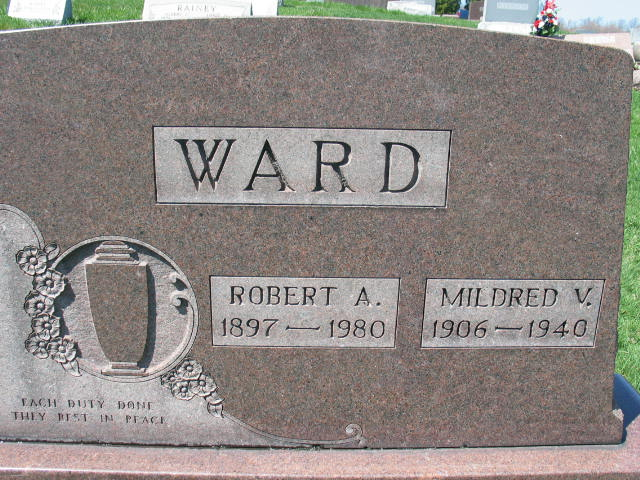 Robert A. and Mildred V. Ward tombstone