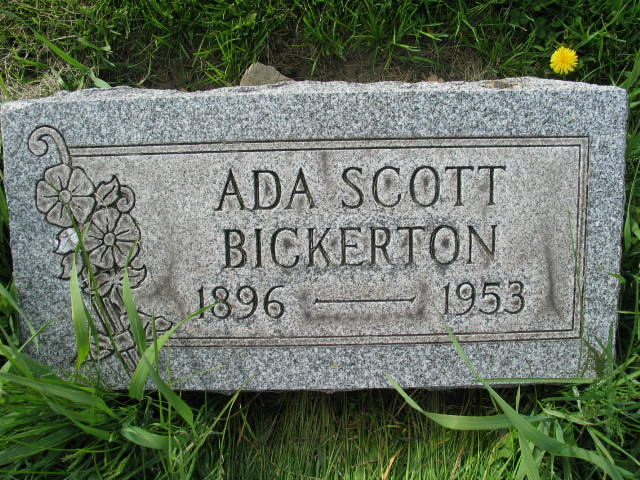 Ada Scott Bickerton tombstone