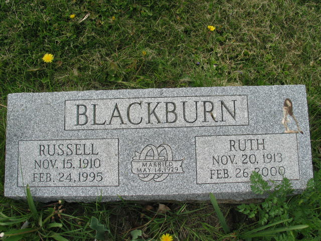 Russell and Ruth Blackburn tombstone