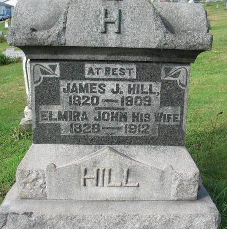 James J. and Elmira Hill tombstone