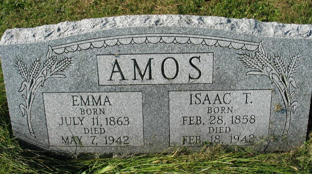 Emma and Isaac T. Amos tombstone