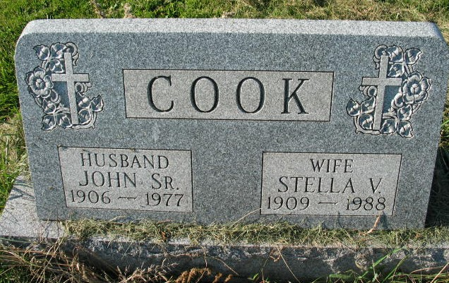 John and Stella Cook tombstone