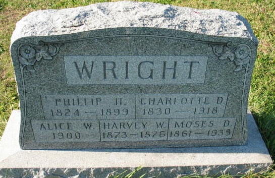 Alice W, Phillip H, Charlotte D. Harvey W., Moses D. Wright tombstone