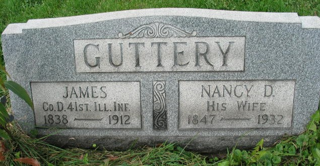 James and Nancy Guttery tombstone