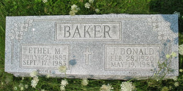 Ethel M and J. Donald Baker tombstone