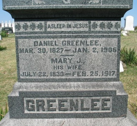 Daniel and Mary J. Greenlee tombstone