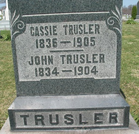 Cassie and John Trussler tombstone