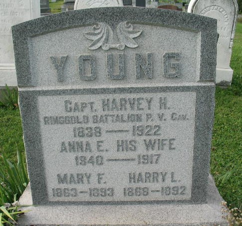 Harvey H, Anna E, Mary F, Harry L. Young tombstone