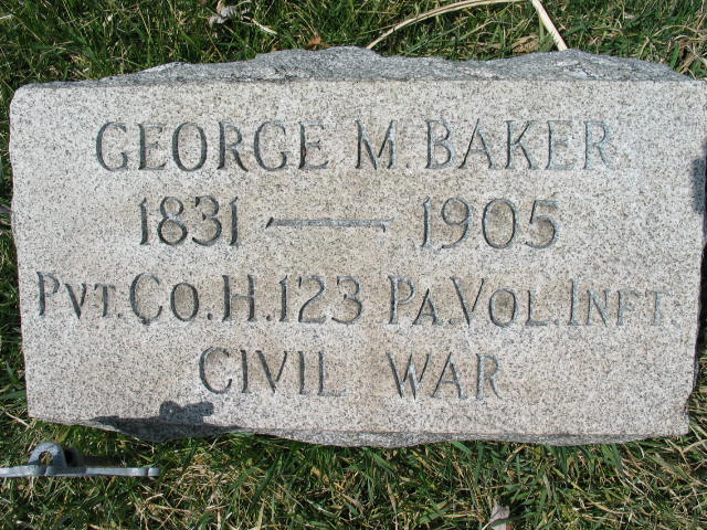 George M. Baker Military tombstone