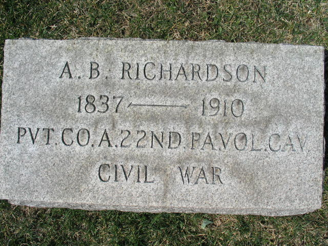 A. B. Richardson military tombstone