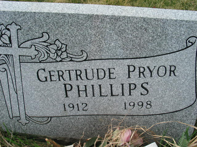 Gertrude Pryor Phillips tombstone