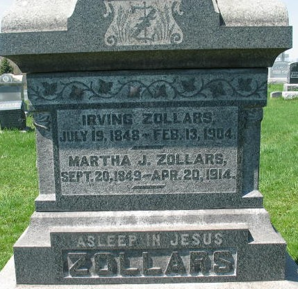 Irving and Martha J. Zollars