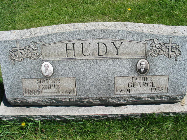 Emilia and George Hudy tombstone