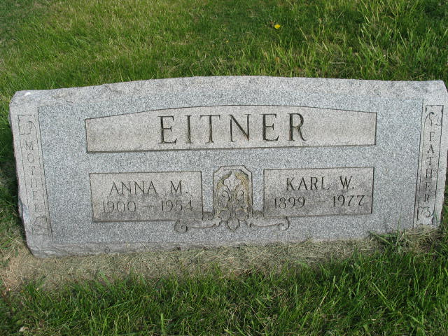 Anna M. and Karl W. Eitner tombstone