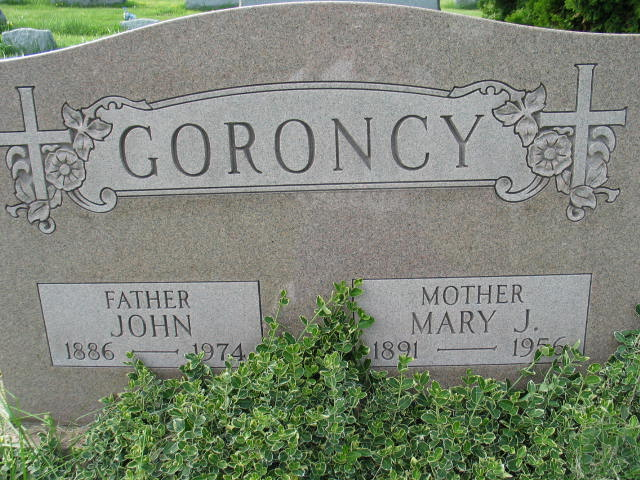 John and Mary J. Goroncy tombstone