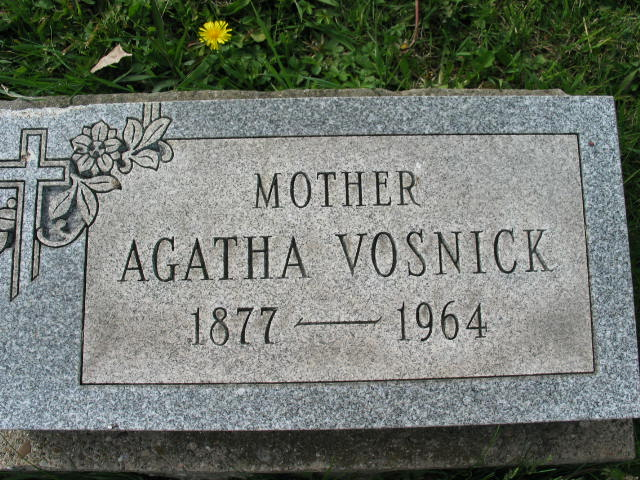 Agatha Vosnick tombstone